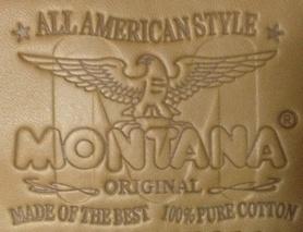 Фирменная нашивка на легендарных джинсах MONTANA-10040.