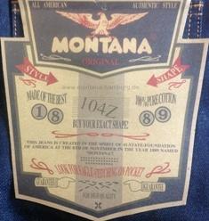 Фирменная этикетка на легендарных джинсах MONTANA-10040.