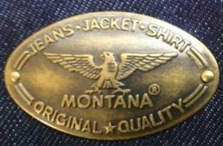 Фирменный лейбл на легендарных джинсах MONTANA-10040.